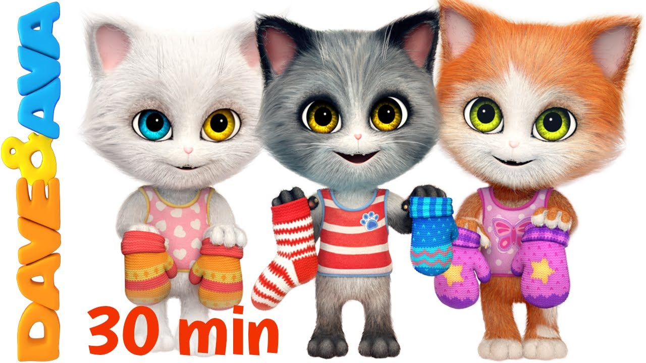 Three Little Kittens In New Nursery Rhymes Collection Kids Songs From Dave And Ava Nursery Rhymes For Baby