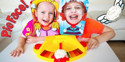 Kids Playing PIE FACE SHOWDOWN CHALLENGE. Family Fun Playtime