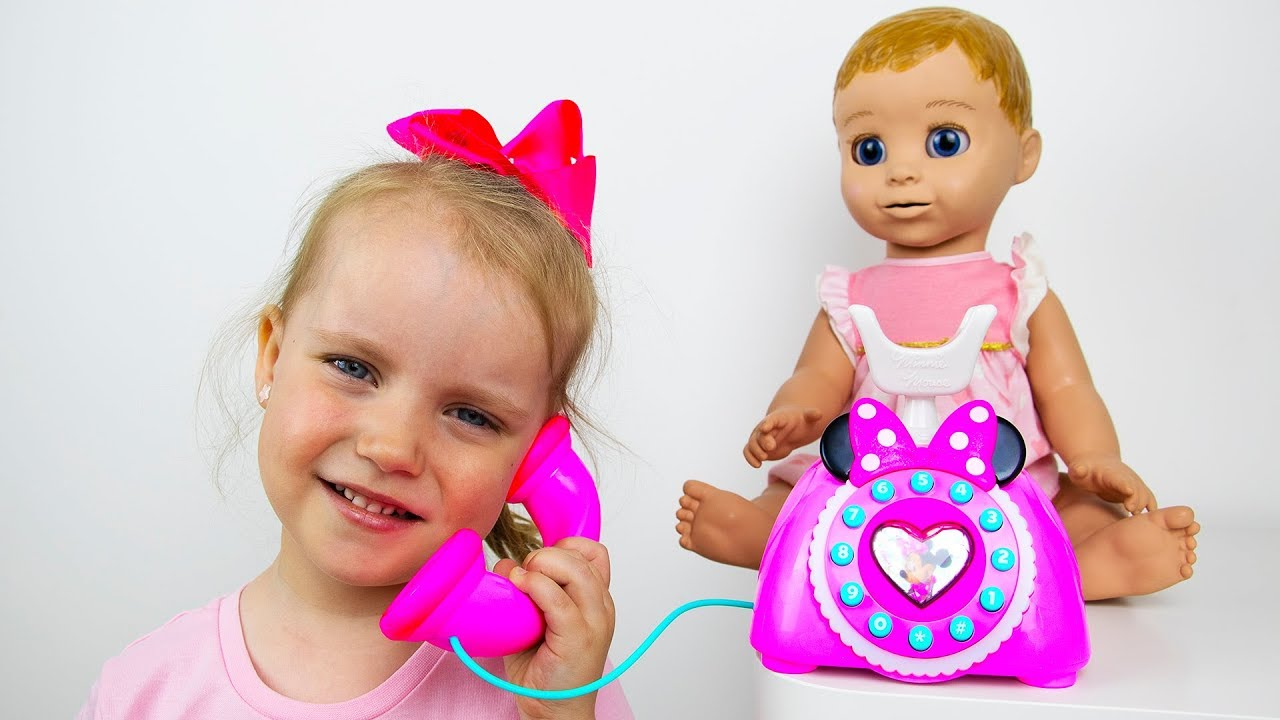 Gaby and Alex Pretend Play with Baby Doll and Toys