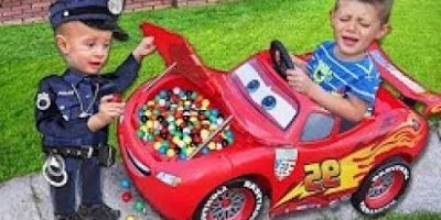Baby Police Colors Gumball Candy in Lightning Mcqueen Car Johny Johny Yes Papa