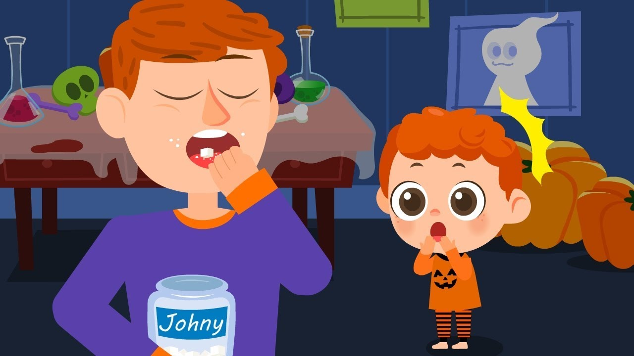 Daddy Daddy Yes Johny (Johny Johny Yes Papa)  | Halloween Song | JellyPop Kids Songs