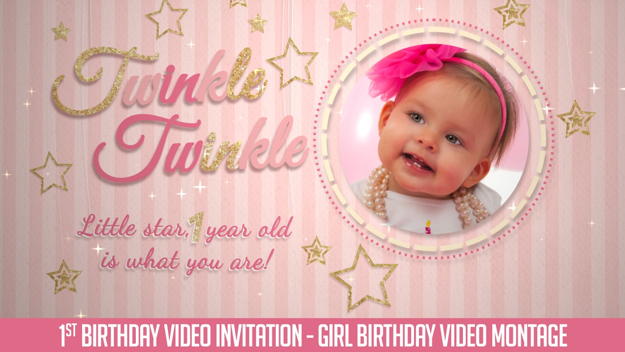 First Birthday Invitation Video Twinkle Twinkle Little Star – Baby Girl