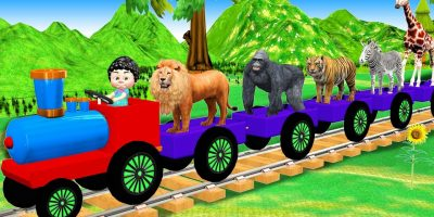 Animals Train Video For Kids | Wild Animals Cartoons For Children | Domestic Animals For Babies