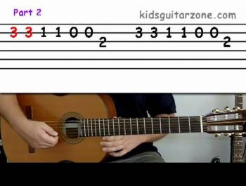 Guitar lesson 3A : Beginner — 'Twinkle twinkle little star' on two strings