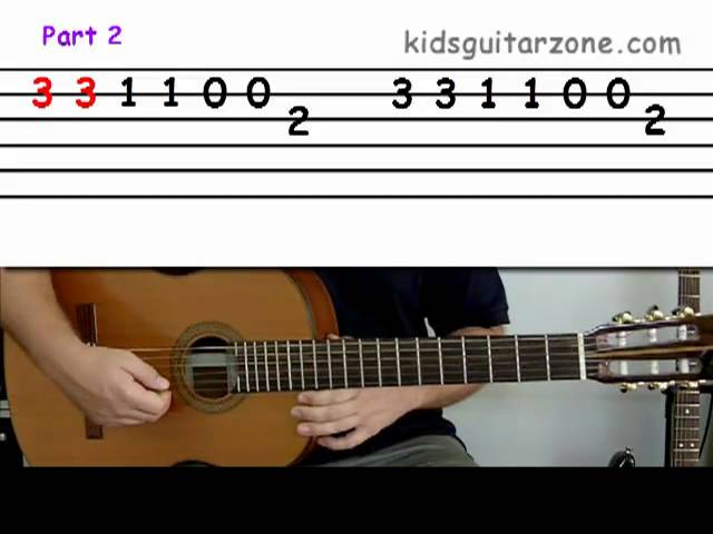 Guitar lesson 3A : Beginner — 'Twinkle twinkle little star' on two strings