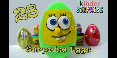 28 SURPRISE EGGS! Spongebob Minecraft Candy Skittles Kinder   Surprise Toys!