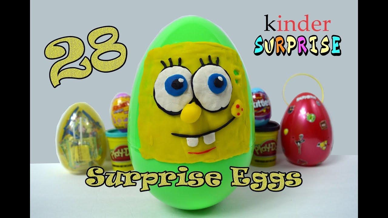 28 SURPRISE EGGS! Spongebob Minecraft Candy Skittles Kinder   Surprise Toys!