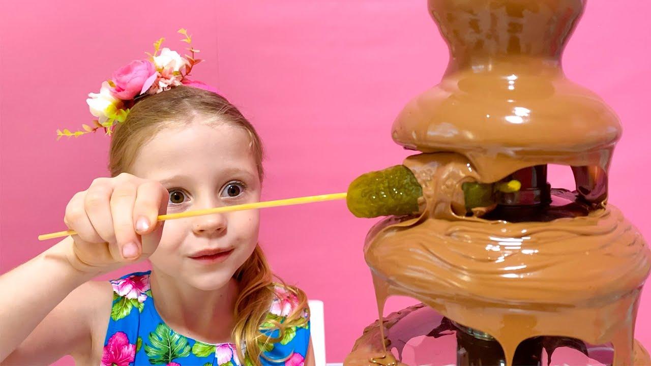 Nastya and dad – jokes with sweets
