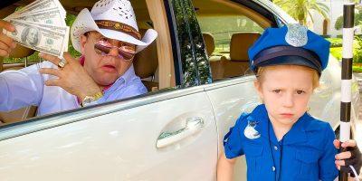 Nastya pretending to play a cop