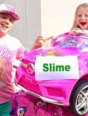 Stacy and dad make colorful glitter and glue slime