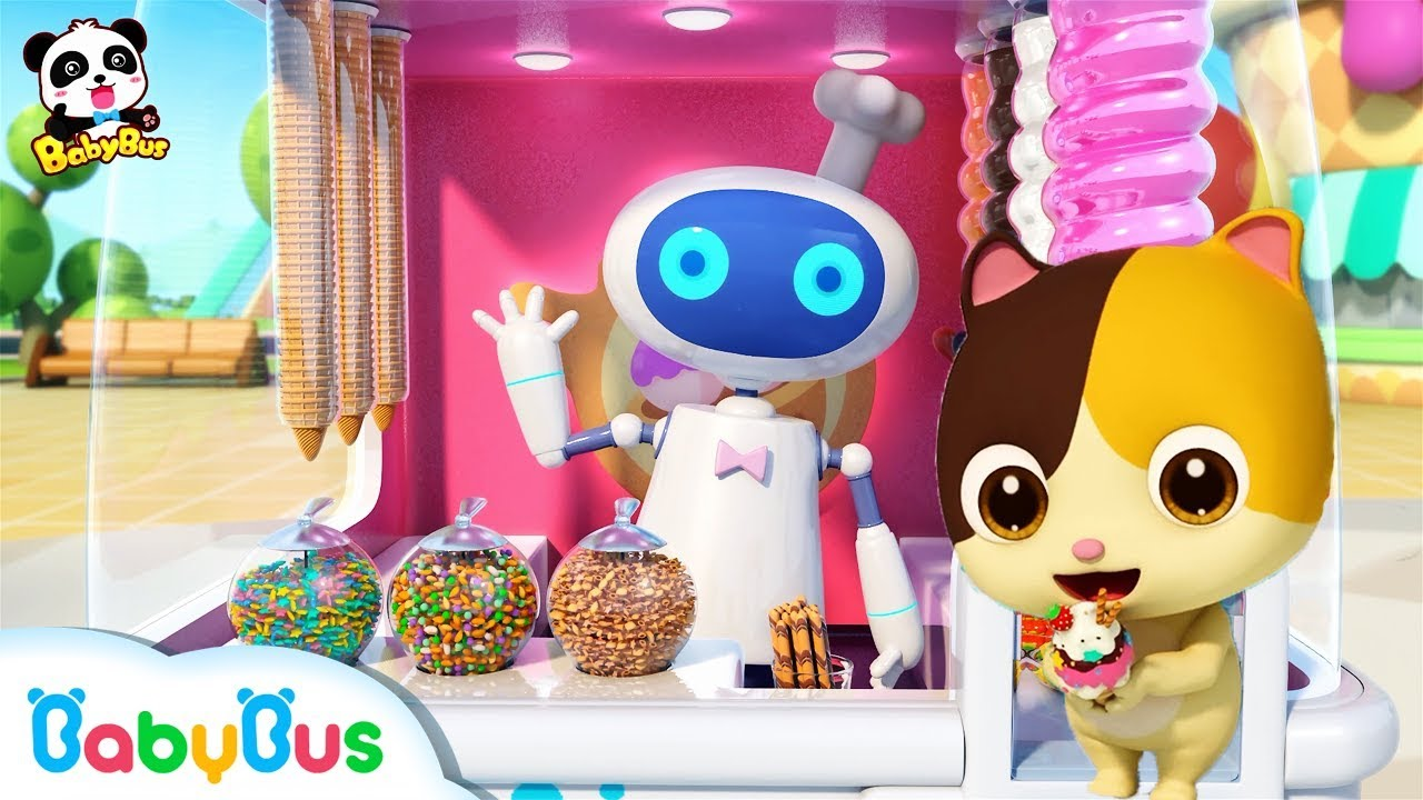 Cool Robot Vending Machine | Baby Kitten Loves Ice Cream | Kids Pretend Play | BabyBus Song