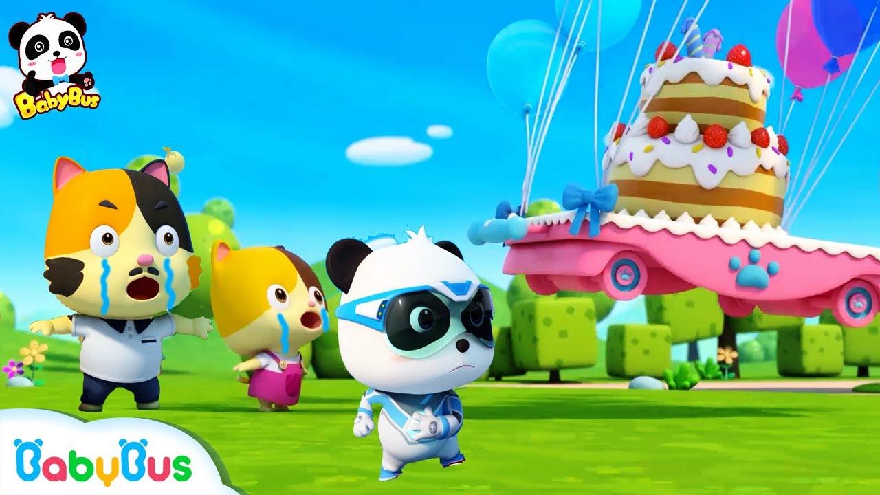 Help! Baby Kitten's Birthday Cake is Flying Away | Super Panda Rescue Team | BabyBus Cartoon