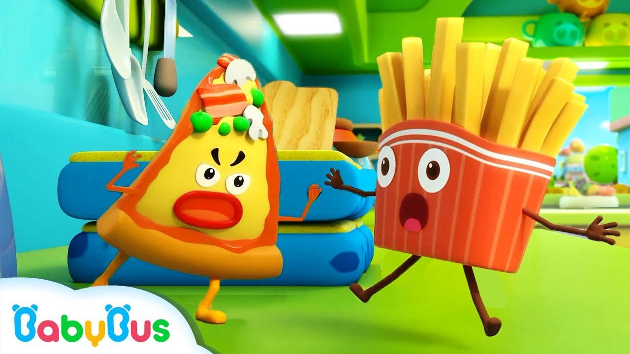French Fries vs Naughty Pizza | Ice Cream, Learn Colors | Kids Songs | Kids Cartoon | BabyBus