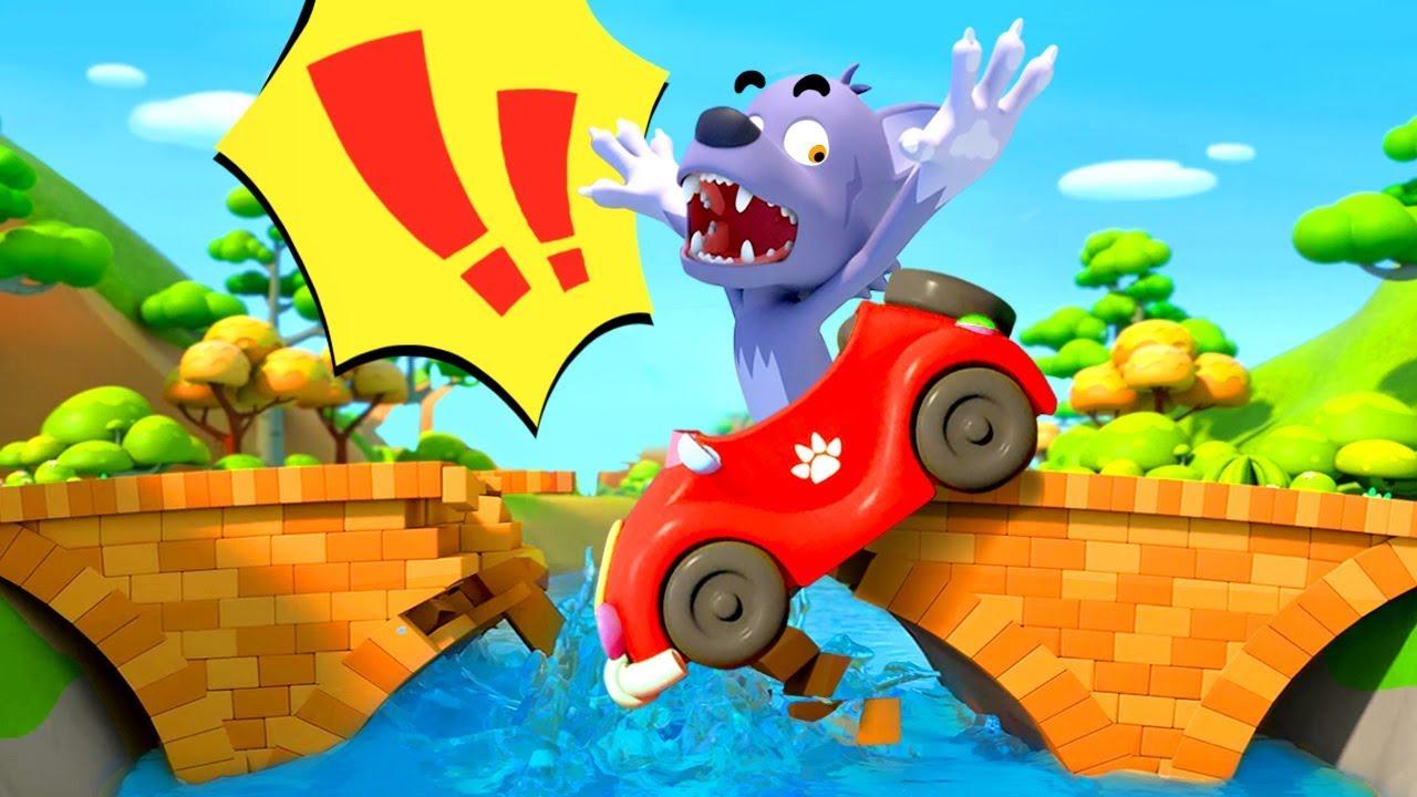 Big Bad Wolf Fell From Bridge | Monster Truck | Cars for Kids | Kids Songs | BabyBus