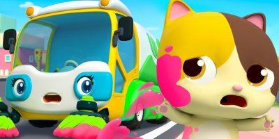 Street Sweeper's Colorful Water   Fire Truck, Police Car   Nursery Rhymes   Kids Songs   BabyBus