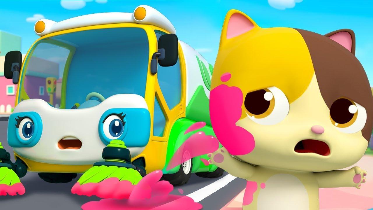 Street Sweeper's Colorful Water | Fire Truck, Police Car | Nursery Rhymes | Kids Songs | BabyBus