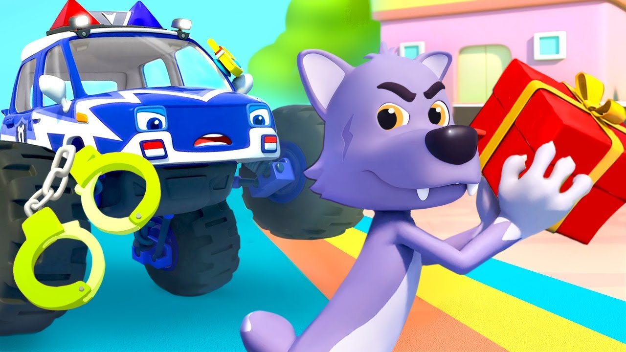 Police Truck Chases Big Bad Wolf | Police Cartoon | Nursery Rhymes | Kids Songs | BabyBus