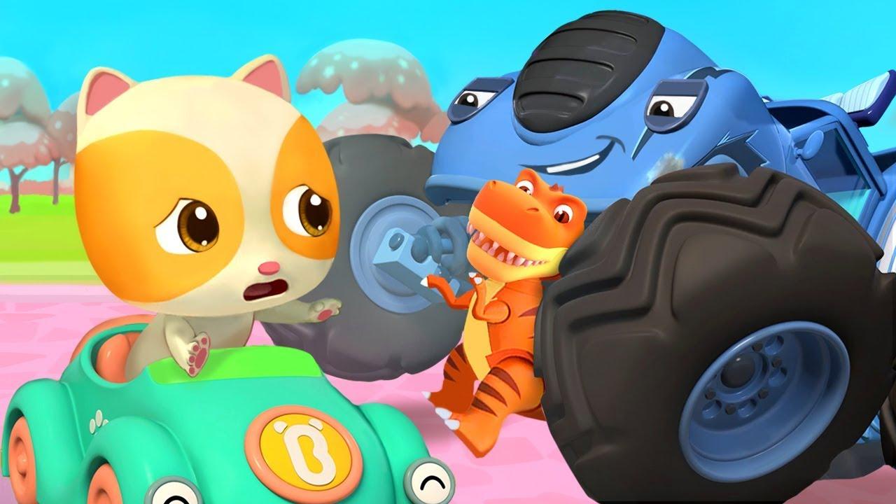 Monster Truck Grabs Baby Kitten's Toy | Police Truck | Nursery Rhymes | Kids Songs | BabyBus