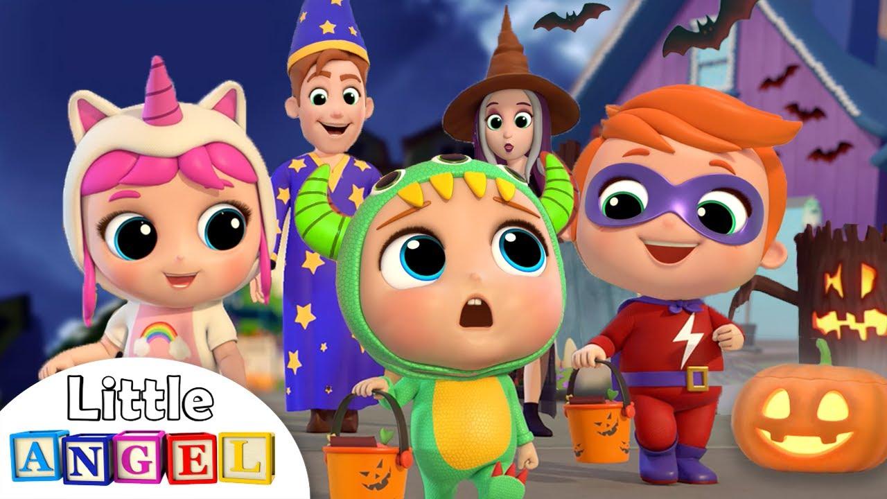 Baby Learns Trick or Treat | Little Angel Halloween Song | Nursery Rhymes & Kids Songs