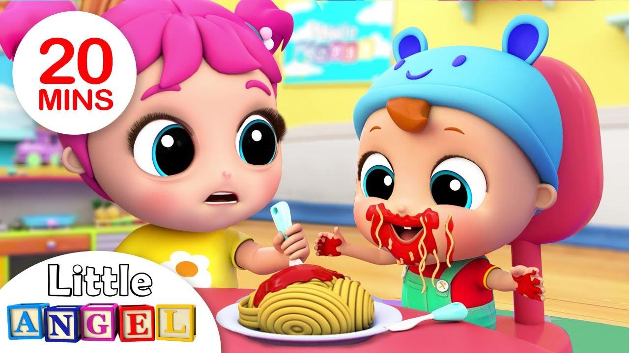 Yum Yum, Baby Loves Spaghetti | Little Angel Kids Songs & Nursery Rhymes