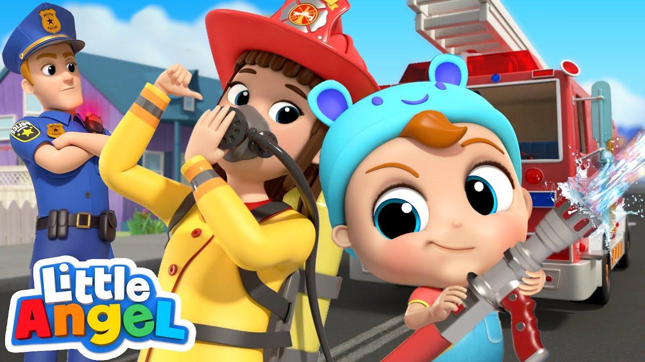 Policeman vs Fireman | Jobs Song by Little Angel Kids Songs and Nursery Rhymes
