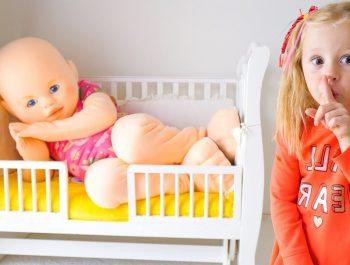 Nastya and her giant baby doll