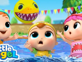 Baby Shark Doo Doo | Swimming Pool Games | Little Angel Kids Songs