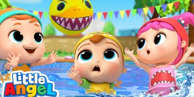 Baby Shark Doo Doo | Swimming Pool Games | Little Angel Kids Songs
