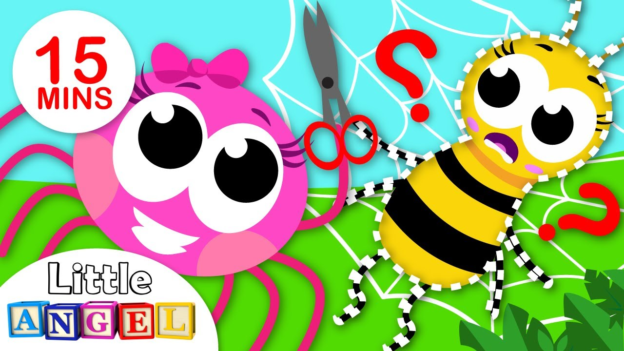 What's in my Web?   Learn To Share with Paw Patrol   5 Little Spiders Nursery Rhymes by Little Angel