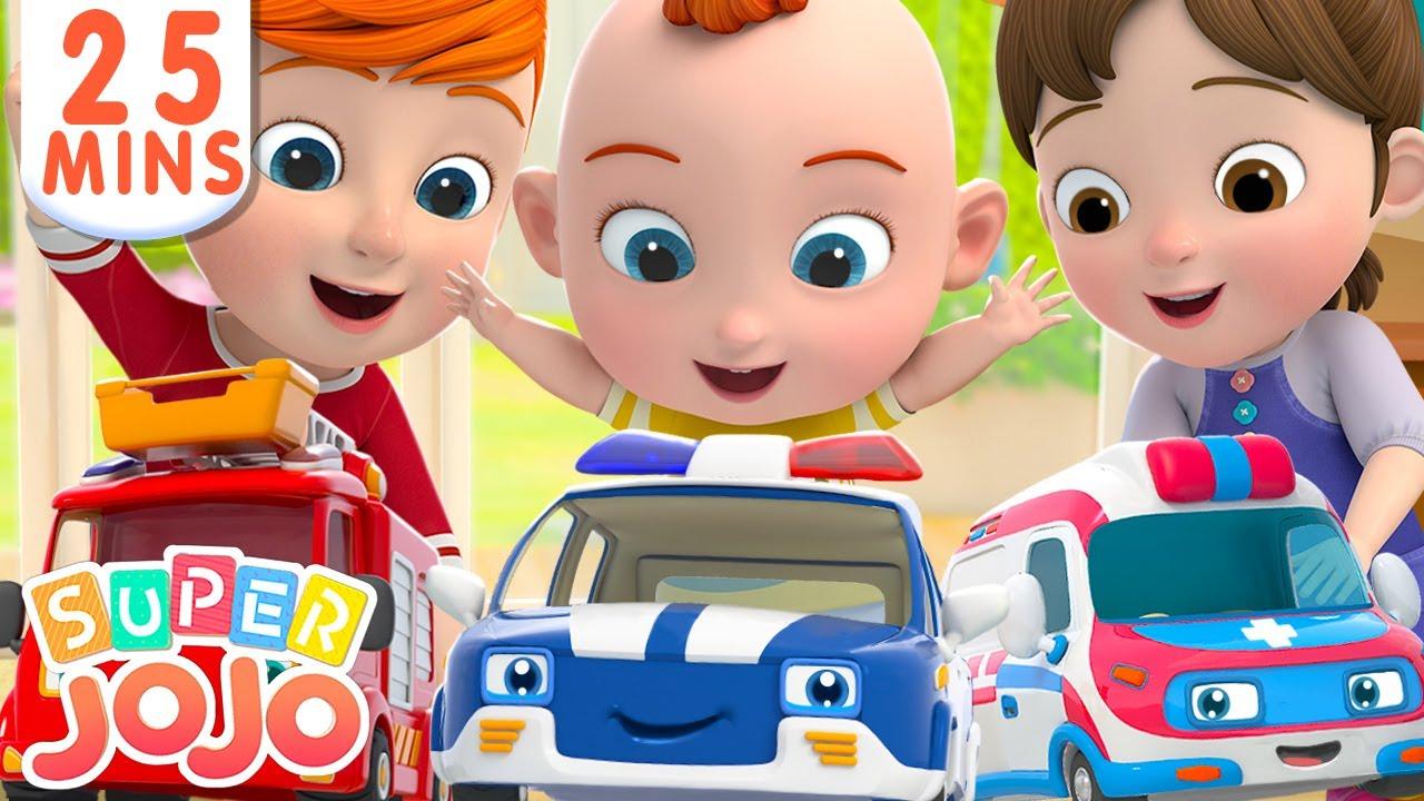 Fire Truck, Police Car, Ambulance In Surprise Eggs + More Nursery Rhymes & Kids Songs – Super JoJo