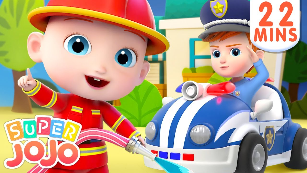 Fire Truck, Police Car, Ambulance in Surprise Eggs + More Nursery Rhymes & Kids Songs – Super JoJo