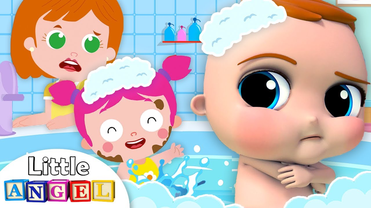 No No I Don't Want A Bath   Little Angel Nursery Rhymes and Kids Songs