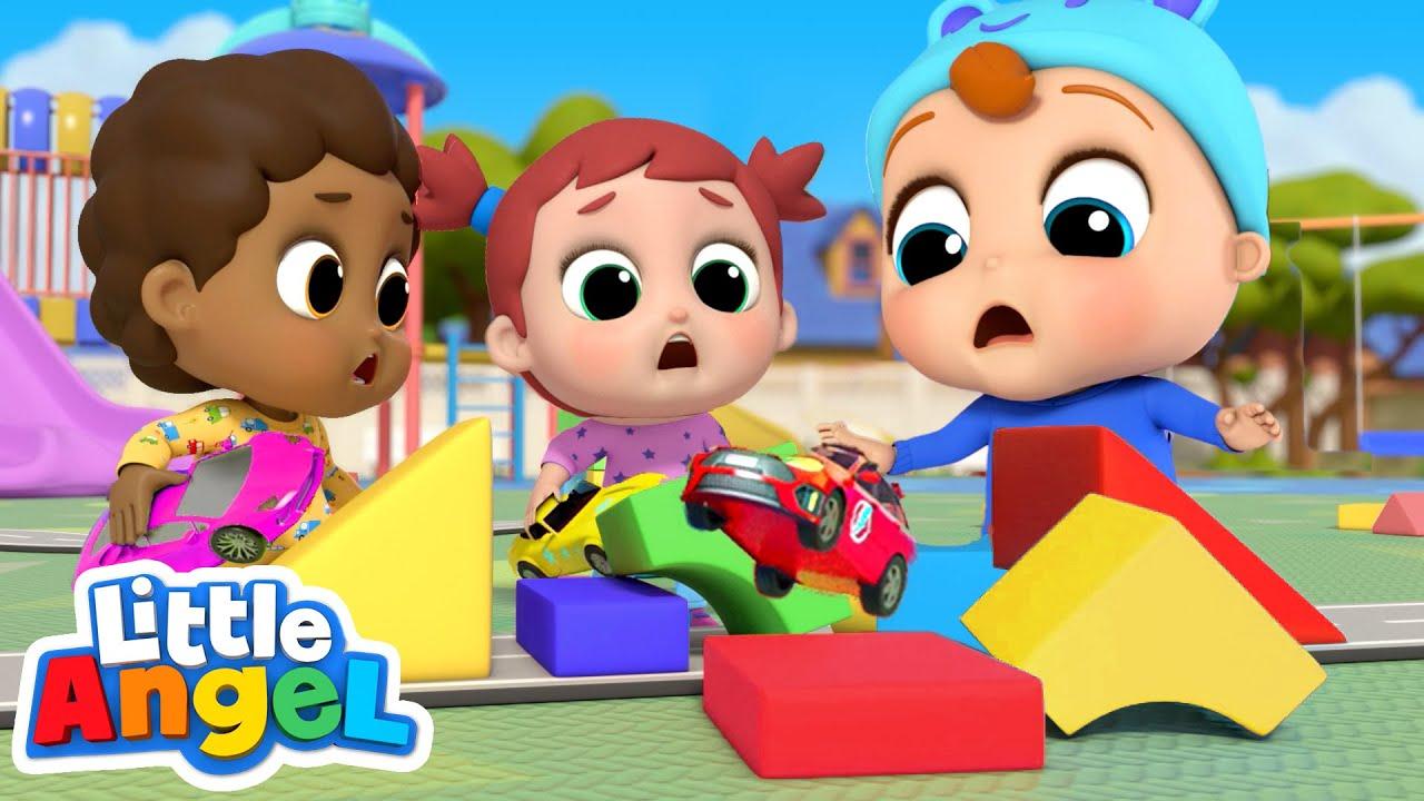 Racing Cars on The Playground   London Bridge Song   Little Angel Kids Songs