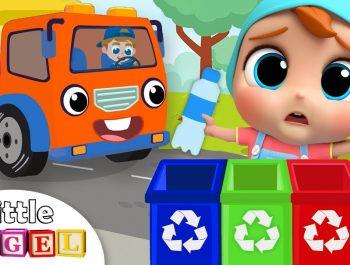 Garbage Truck Helps Us Clean Up Trash | Little Angel Nursery Rhymes & Kids Songs