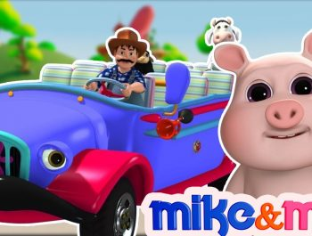 Blue Wheels On The Bus | Big Blue Bus | Kindergarten Nursery Rhymes Songs for Kids by Mike and Mia