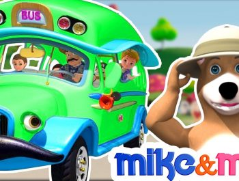 Wheels on the Bus | Green Bus Song | Nursery Rhymes Playlist for Children | Kids Songs by Mike & Mia