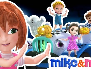 Wheels on the bus | Halloween songs for Children | Halloween Bus | Nursery Rhymes by Mike and Mia