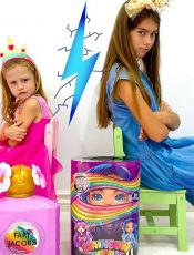 Stacy and Nastya vie for surprises and toys