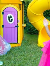 Nastya and Stacy pretend play with a magic playhouse