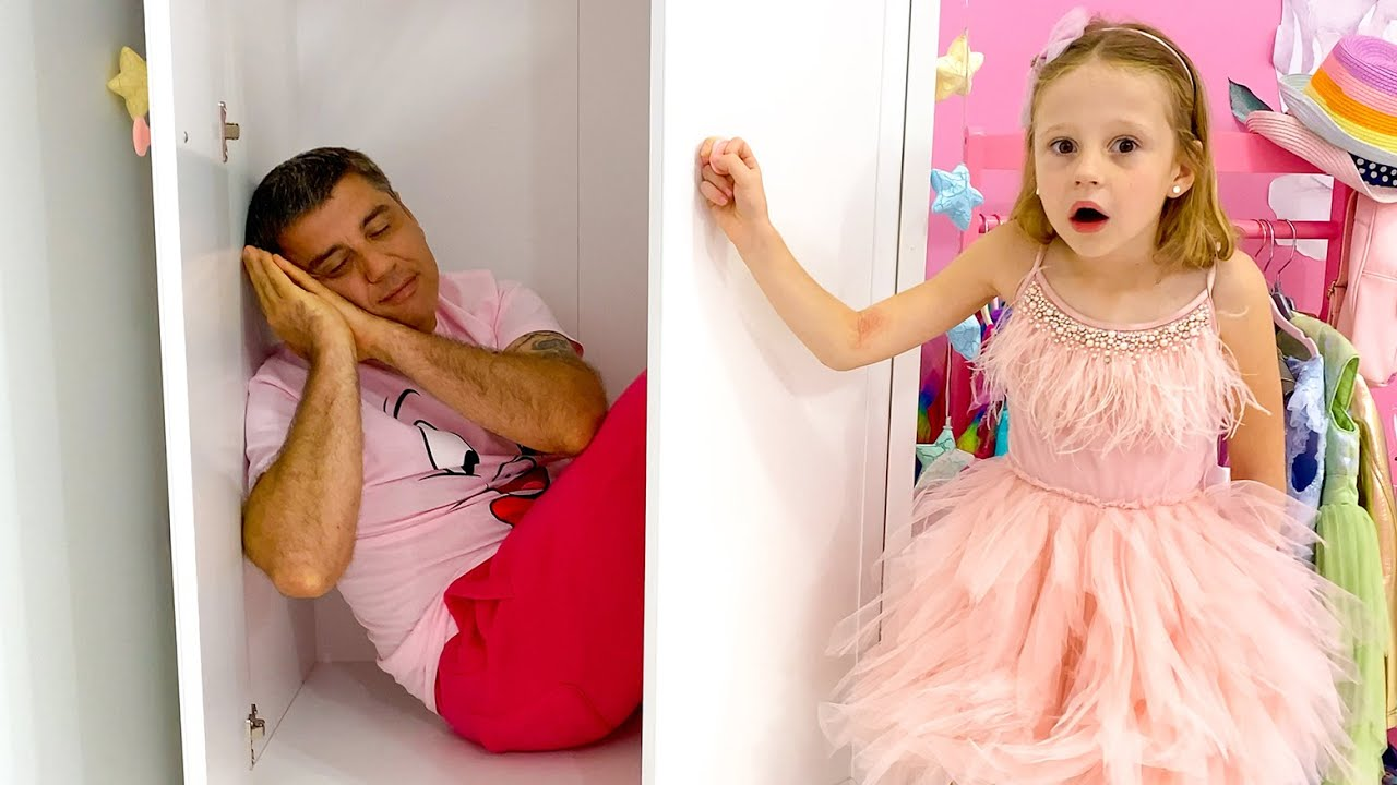 Nastya makes jokes with dad