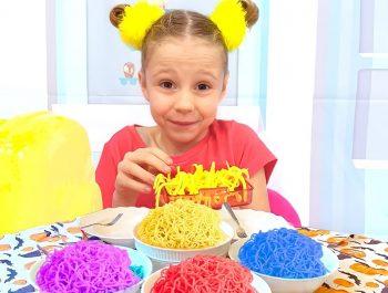 Nastya and dad are preparing colored noodles