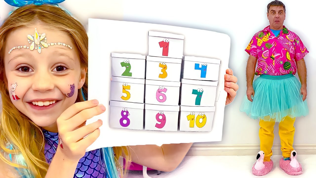 Nastya and daddy count to 10 using boxes of surprises