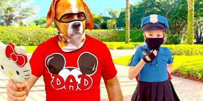 Nastya teaches dad to wear a mask as a policeman