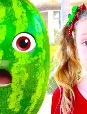 Nastya and dad found a magic watermelon