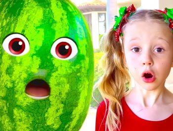 Nastya and dad found a magic watermelon