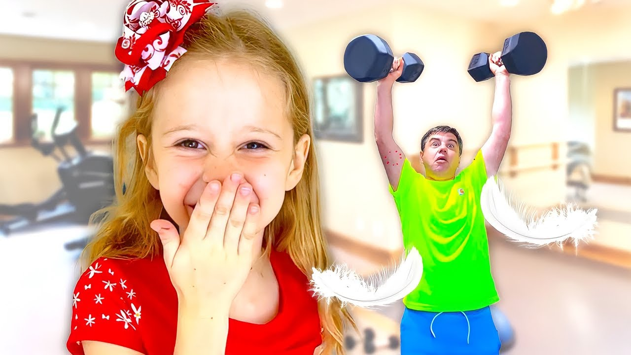 Nastya and copying challenge with dad