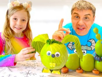 Nastya and her friend prepare unusual desserts from vegetables and fruits
