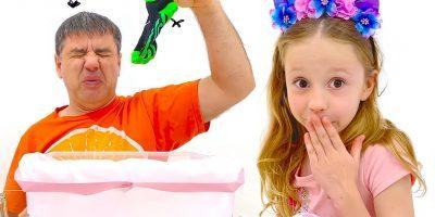 Nastya and dad arranged educational challenges