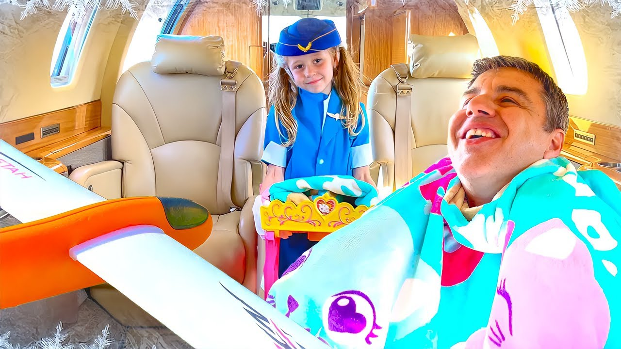 Nastya pretends to be a flight attendant for dad on the plane. Story for kids.