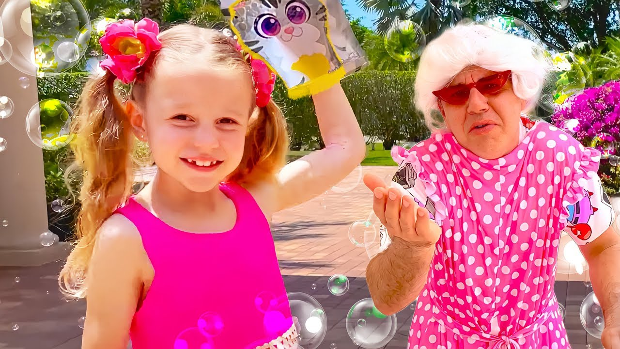 Nastya and Evelyn found a magic toy shower. Useful stories for children